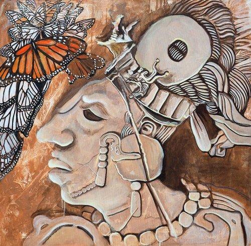 Pönk - Porträt Malerei Azteke