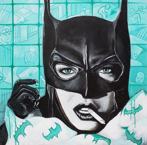 Black - Porträt Malerei Bat Woman