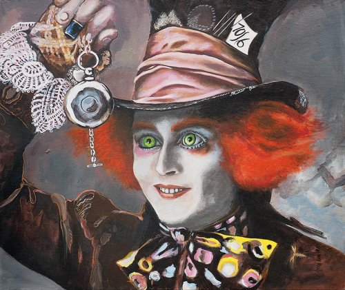 Movie - Porträt Malerei Johnny Depp - der Hutmacher