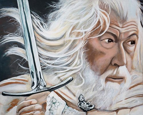 Movie - Porträt Malerei Gandalf - Herr der Ringe