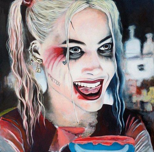 Movie - Porträt Malerei Harley Quinn - Suicide Quad