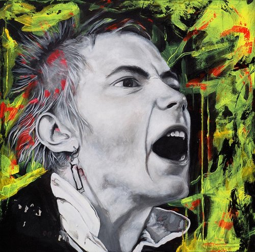 Pönk - Porträt Malerei Johnny Rotten - This is not a love song