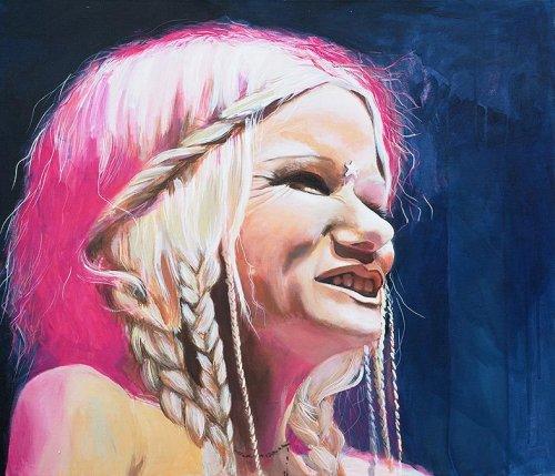Pink - Porträt Malerei Katzenjammer