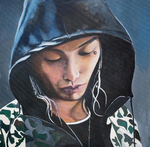 Music - Porträt Malerei Keith Ape 2