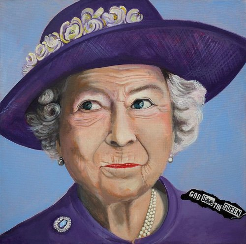Pönk - Porträt Malerei Queen Elizabeth - God save the queen