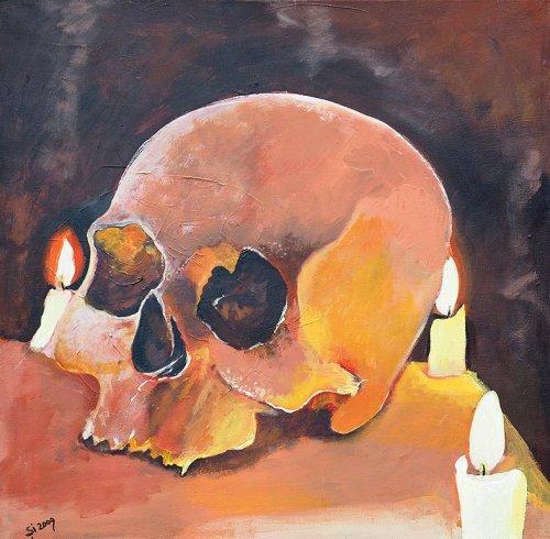 Pönk - Porträt Malerei Skull - Candle light diner