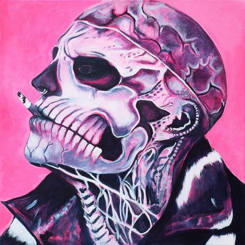 Pink - Porträt Malerei Zombie boy